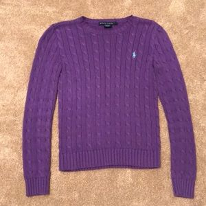 Ralph Lauren sweater purple cable knit size Small